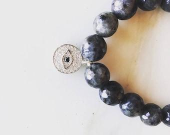 Evil Eye Bracelet, Black Labradorite and Fresh Water Pearl Stretch Bracelet