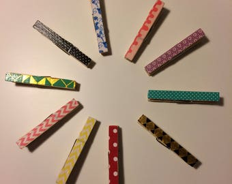10 decorated pegs with magnets on the back | CraftyFoxByBG