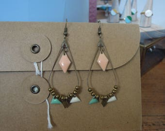 drop earrings in shades of hand/gifts pastels/pastel/pink/blue/white/dangling/beads/diamond/triangle/made for women