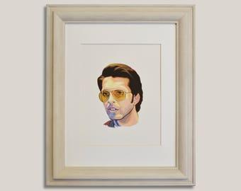 Clem Fandango, Toast of London, Can you hear me Steven? It's Clem Fandango, Celebrity Portrait, TV Show Art, Steven Toast, Gouache Painting