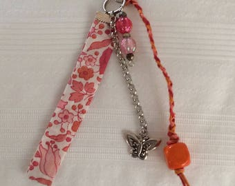 Keychain, bag in Liberty and pearls