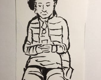 Original Ink Drawing of a Woman in the Boston Subway