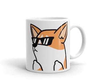 Sunglasses Corgi Mug, Funny Corgi Gifts, Cute Corgi Dog Coffee Cup