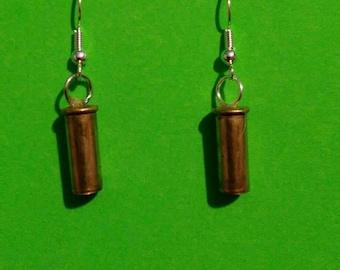 Twenty two Caliber Bullet Casing Dangle Earrings