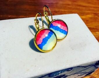 Dangle earrings , glass earrings , handmade earrings