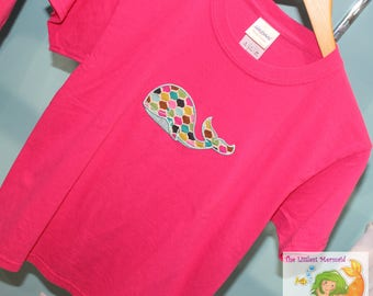 Pink Whale T-shirt Youth Small // Girls T-shirt // Whale Applique Shirt // Pink T-shirt // Whale Shirt