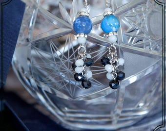 Blue earrings made with agate fire