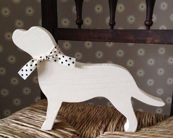 Golden Labrador wooden decoration. Gift
