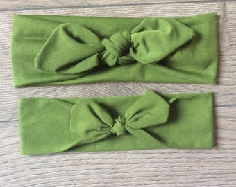 Mommy and Me headbands/ jersey knit headbands/ green headband