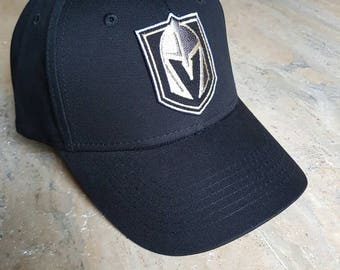 Las Vegas Golden Knights Black Hat - Curved Bill baseball cap with Velcro strap.