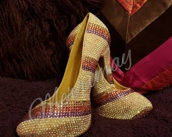 Handmade fully crystallized stripe pattern heels