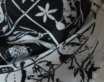Birds & Plants: hand printed silk scarf