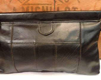 Vintage Leather Hinged Clutch w/ Hand Strap