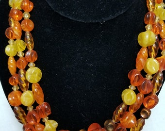 Western Germany stamped orange yellow brown three strand Vintage Necklace