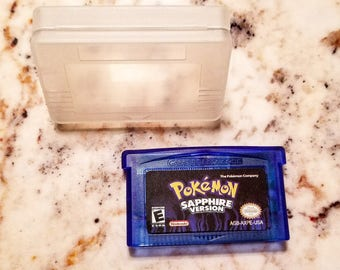 Pokemon Sapphire Version Nintendo GBA Advance SP Cartridge W/ New Save Battery