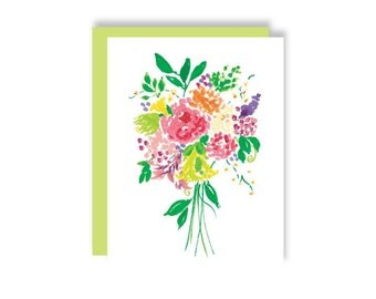 Watercolor Floral Bouquet Note Card • Simgle Card with Gren Euro Envelope