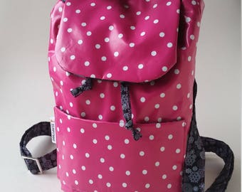 Rucksack style Handbag in Pink polka oilcloth