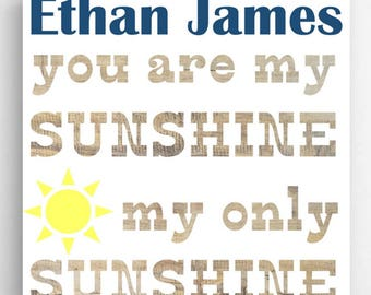Personalized Kids Sunshine Canvas Sign - Personalized Kids Prints - Boys Wall Prints - Girls Wall Prints - Kids Wall Decor - Kids Gifts