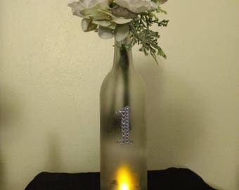 Wine Bottle center piece with tea light