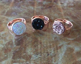 Rose Gold Druzy Ring