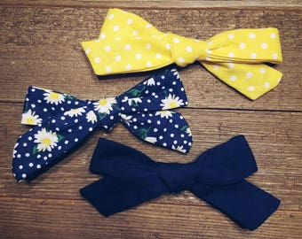 April Showers | Handmade Cotton Baby Hair Bow Set of 3