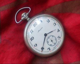 old vintage Soviet pocket watch Molnija , USSR mechanical pocket watch, Molnia watch,Men's pocket watch,Wind up watch, vintage pocket watch