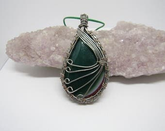 Green and red onyx druzy geode agate teardrop wire wrapped pendant necklace - Free shipping!