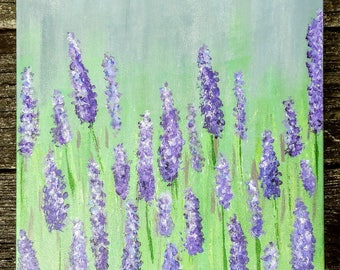 Field of lavender purple flowers acrylic painting 12×12 canvas home decor sign floral