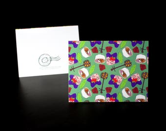 "5.5""x4"" Okinawa themed Greeting Card in Green"
