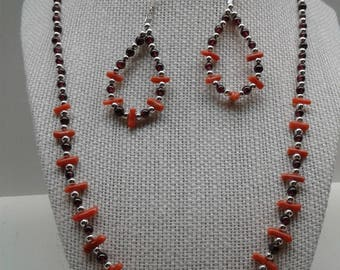 Branch and Bead Coral Garnet Silver plated bead Necklace Earring Set SW-9