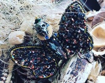 Beautiful Dark Butterfly Brooch, Beetle, Swarovski