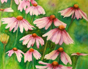 Purple Cone flowers - Original Watercolor