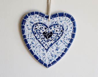 Mosaic Wooden Heart - Blue and White