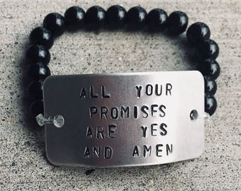 Customizable aluminum hand stamped aluminum on glass bead elastic bracelet