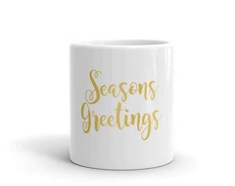 """Christmas """"Seasons Greetings""""  holiday Mug"""