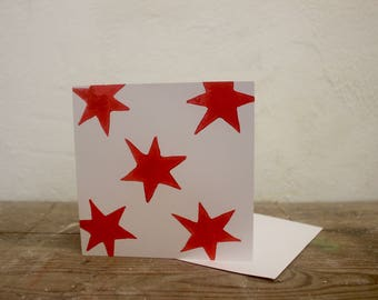 Red Star Greeting card or Christmas Card