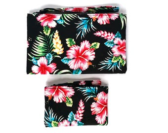 Tropical print clutch/purse and coin purse set