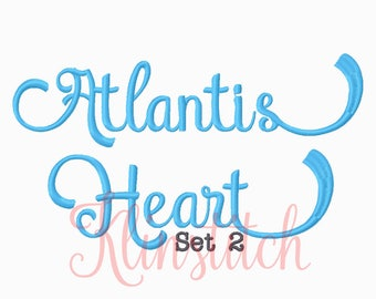 50% Sale!! Set 2 Atlantis Heart Embroidery Fonts 5 Sizes Fonts BX Fonts Embroidery Designs PES Fonts Alphabets - Instant Download
