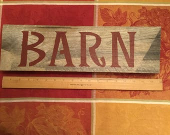 """Handmade 100% reclaimed """"barn"""" sign. 17 1/2in long x 5 1/4in tall. Pre wired and ready to be hung."""