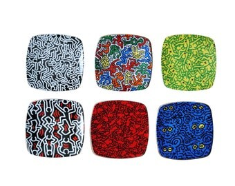 6 Art plates by Keith Haring