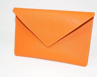 Handmade Saffiano Leather Envelope Clutch