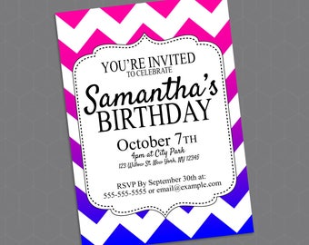 Custom Printable Girls' Chevron Birthday Invitation - 5' x 7'