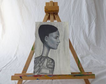 Original hand drawn charcoal abstract beautiful African-American woman on 11 1/2 by 7 3/4 sketch paper