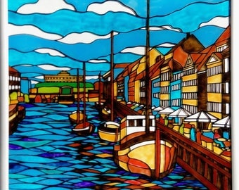 Painting on glass, Picture, Denmark, Sity view, Wall hanging, Art, Graphics, Nyhavn, Yachts, Gift, Home Decor, Living decor.
