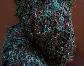 Hunter Green Boucle Mohair Skein