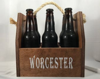 six pack/carrier/picnic/caddy/personalized/custom/wood/beer/alcohol/soda/tableware/gift/wedding/party