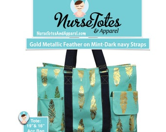 Gold Metallic Feather on Mint Bag-Nurse Purse-Large Tote Bag-Medical Tote-Personalized Monograms-Names-Credentials-Gift