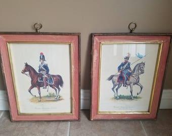 Set of Antique Military Officer Prints