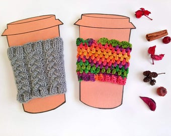 Pack of 2, cup cozy, coffee gift, grey knit cozy, coffee lovers gift, coffee sleeve, crochet cup sleeve, cup warmer, hand knit cozy.