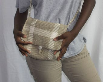 Tan and White Hand Woven Shoulder Bag